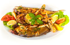 Grilled fish with vegetables on plate. Isolated Stock Photography