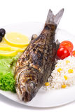 Grilled fish with vegetables and rice Royalty Free Stock Photography