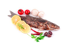 Grilled fish with vegetables. Royalty Free Stock Photos