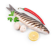 Grilled fish with vegetables. Royalty Free Stock Images