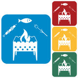 Grilled fish, zephyr and  kebab icon. Vector illustration Royalty Free Stock Images