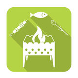 Grilled fish, zephyr and  kebab icon. Vector illustration Stock Photo