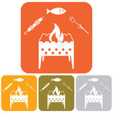 Grilled fish, zephyr and kebab icon. Vector illustration Stock Image