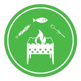 Grilled fish, zephyr and kebab icon. Vector illustration Royalty Free Stock Image