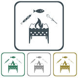 Grilled fish, zephyr and  kebab icon. Vector illustration Royalty Free Stock Photo