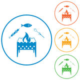 Grilled fish, zephyr and kebab icon. Grilled fish, zephyr and  kebab icon. Vector illustration Royalty Free Stock Photos