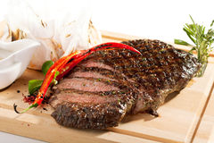Grilled Flank Steak. With Rosemary stock images