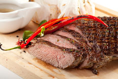 Grilled Flank Steak. With Rosemary stock photos