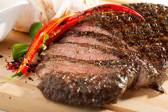 Grilled Flank Steak. With Rosemary stock photo