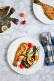 Grilled flounder fish royalty free stock photo