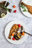 Grilled flounder fish stock images