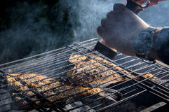 Grilled flounder on the grill Royalty Free Stock Photo