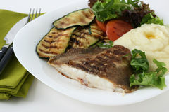 Grilled flounder with mashed potato Stock Images