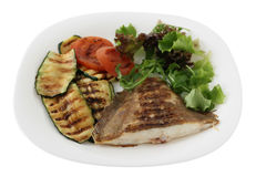 Grilled flounder with vegetables Royalty Free Stock Photography