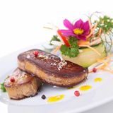 Grilled foie gras with vegetables Royalty Free Stock Photography