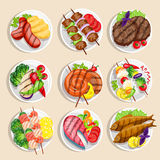 Grilled Food Set. Fish and meat dishes with vegetables on the plate vector illustration Stock Photography