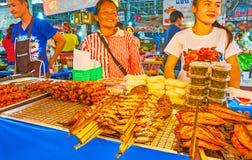 The grilled food stall in Talad Saphan Phut market, Bangkok, Thailand