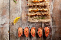 Grilled Foods and Baked Mussels Royalty Free Stock Photo