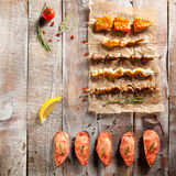 Grilled Foods and Baked Mussels Royalty Free Stock Image
