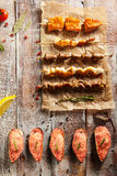 Grilled Foods and Baked Mussels Stock Photography