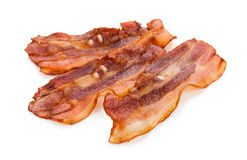 Grilled fresh bacon isolated on white background.  Royalty Free Stock Photos