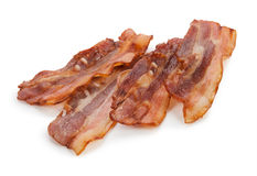 Grilled fresh bacon isolated on white background.  Royalty Free Stock Images