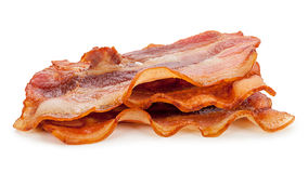 Grilled fresh bacon on white background. Grilled fresh bacon isolated on white background Royalty Free Stock Image