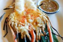Grilled fresh big shrimp, river prawn Stock Image