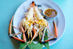 Grilled fresh big shrimp, river prawn Royalty Free Stock Photography