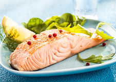 Grilled fresh salmon steak Royalty Free Stock Photography