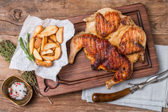 Grilled fried roast Chicken tobacco Stock Images