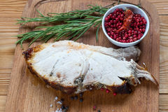 Grilled gammon steak on a wooden board Royalty Free Stock Photo