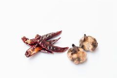 Grilled garlic and grilled chilli Royalty Free Stock Image