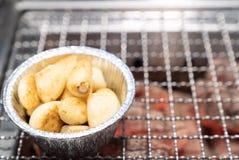 Grilled garlic yakiniku royalty free stock photo