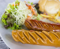 Grilled german sausage. With salad, bun and french fried Stock Photo