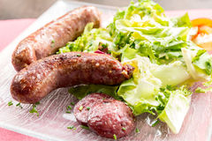 Grilled german sausages Royalty Free Stock Photo