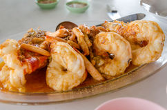 Grilled giant freshwater prawn Royalty Free Stock Photos