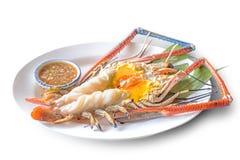Grilled Giant River Prawn. `Grilled Giant River Prawn`, a famous Thai menu Stock Image