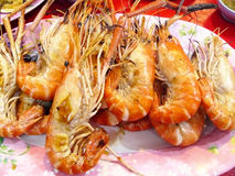 Grilled giant river prawns Stock Photos
