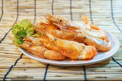 Grilled giant river prawns Royalty Free Stock Photos