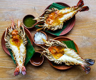 Grilled giant river prawns Royalty Free Stock Photo