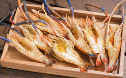 Grilled Giant River shrimp Stock Photos