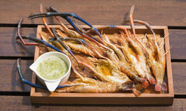 Grilled Giant River shrimp Stock Photography