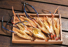 Grilled Giant River shrimp. On wood plates ,River prawn grilled on charcoal stove Stock Photography