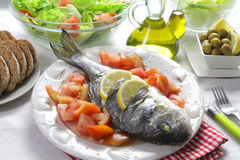 Grilled gilt head bream with salad. Healthy gilt head bream grilled with salad, olives and olive oil royalty free stock image