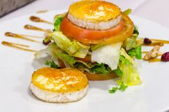 Grilled goat cheese with salad Royalty Free Stock Images
