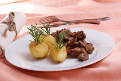 grilled goulash and organic herbed potato Royalty Free Stock Images