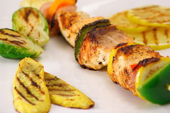 Grilled gourmet salmon kabob. You might be tempted by this delicious shish kabob healthy and flavorful Royalty Free Stock Image