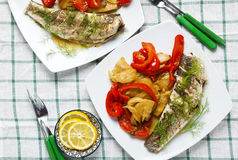 Grilled gray mullet fish with sweet and sour vegetables : stewed Royalty Free Stock Image