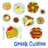 Grilled greek seafood dishes sketch drawing icon Stock Photos